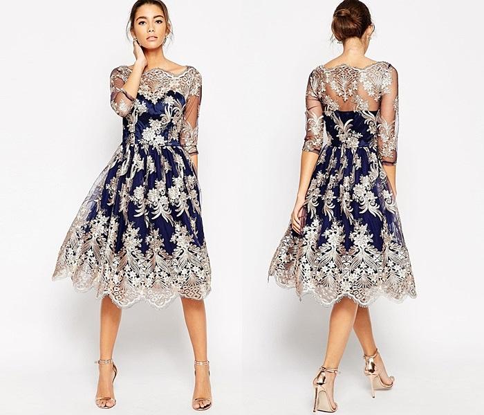 granatowo złota suknia