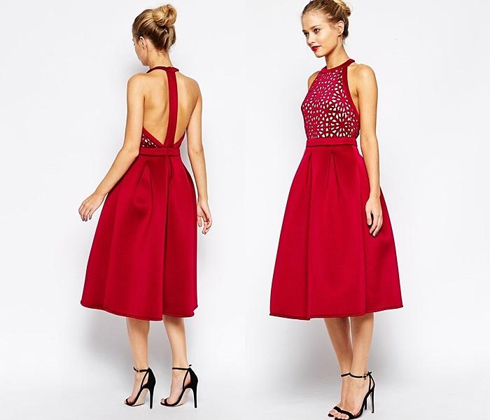 piękna czerwona sukienka wieczorowa