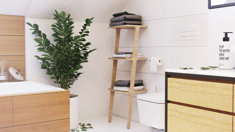łazienka w bieli z elementami drewna