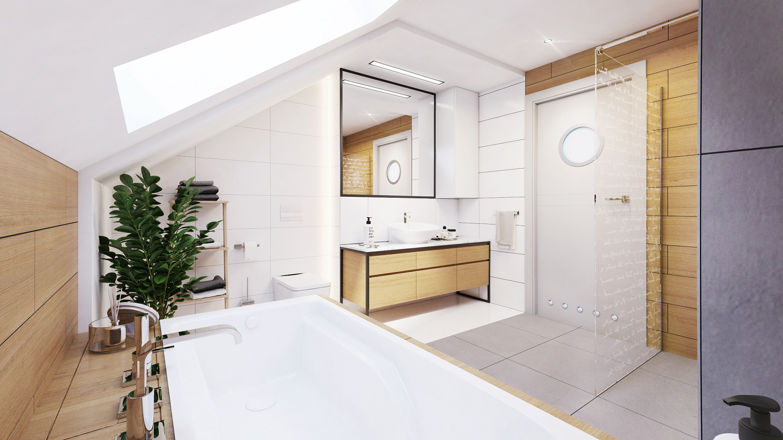 biało szara łazienka z elementami drewna