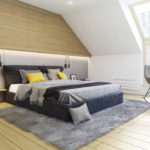 Beton, drewno i akcent kolorystyczny – projekt naszej sypialni