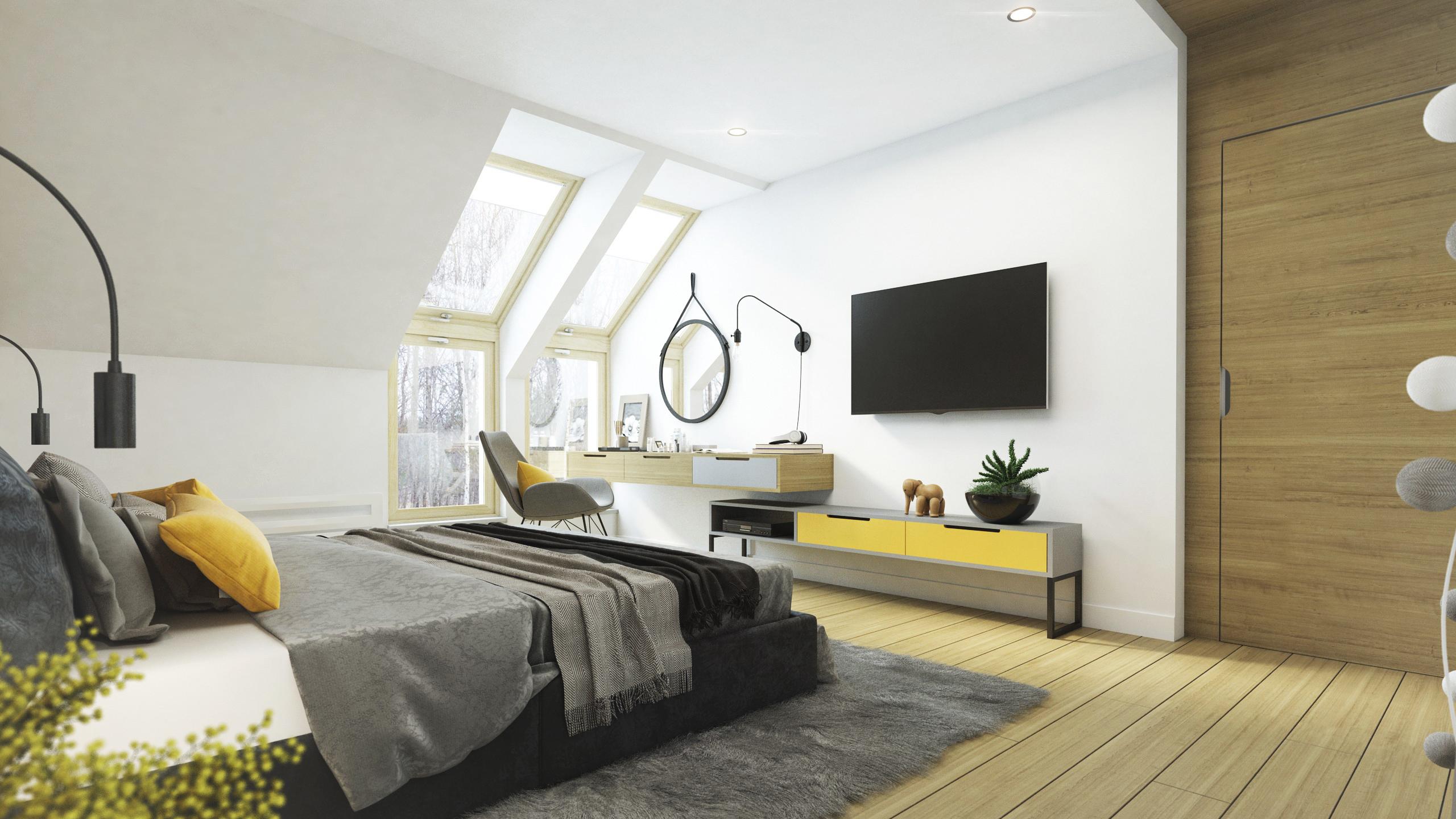 okna kolankowe w sypialni