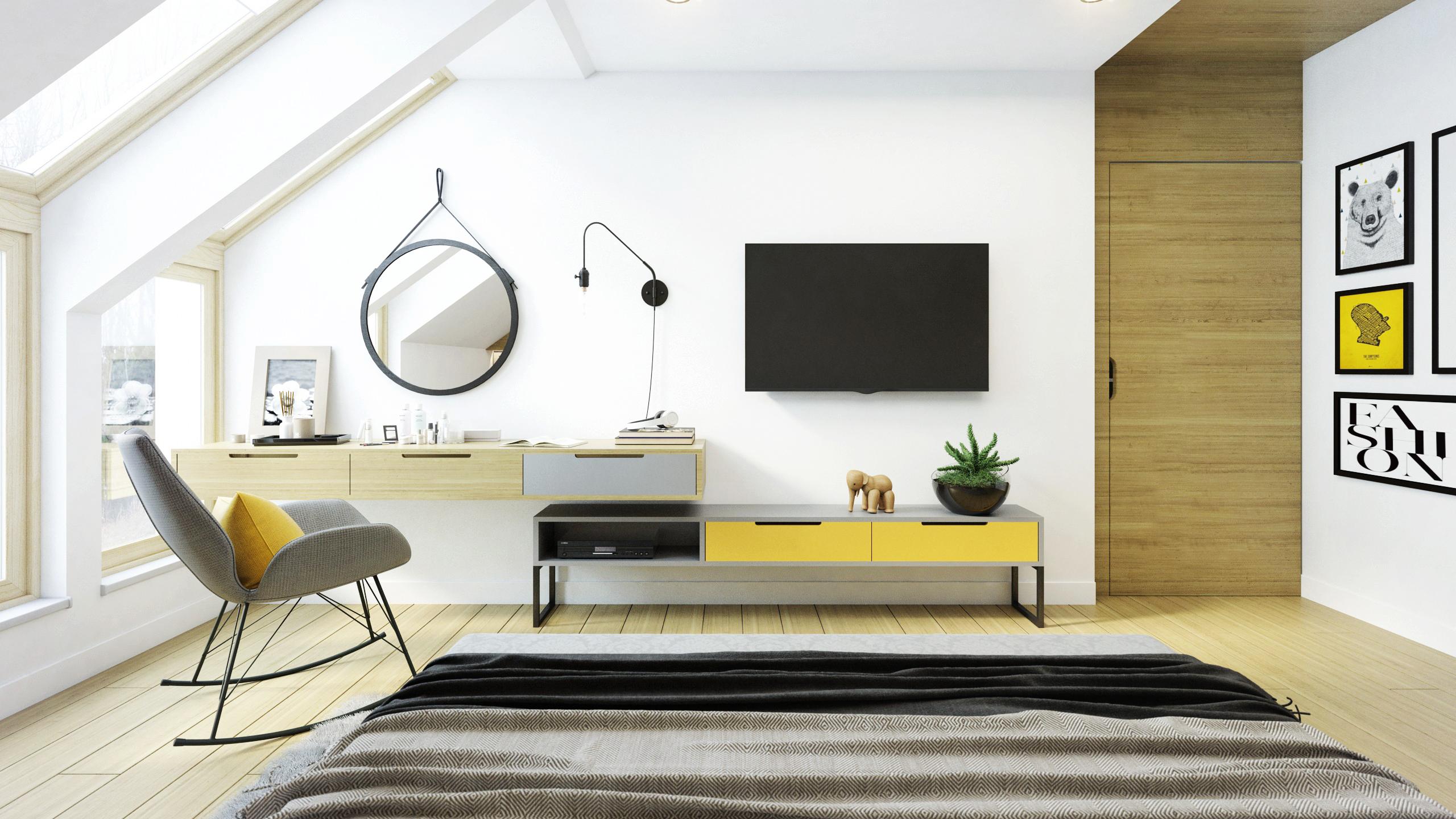 sypialnia z elementami żółego