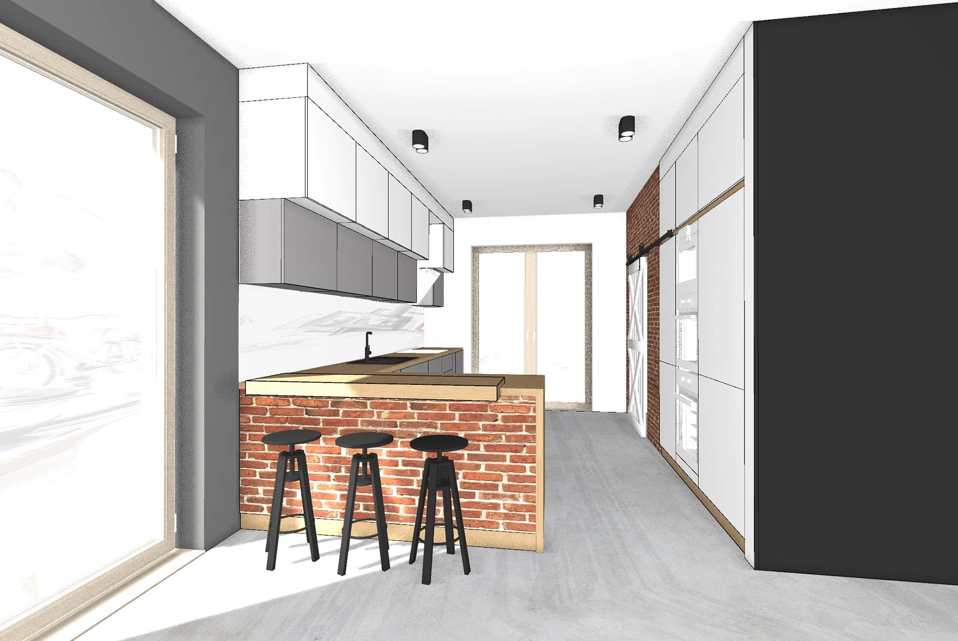 projekt kuchni biało szara