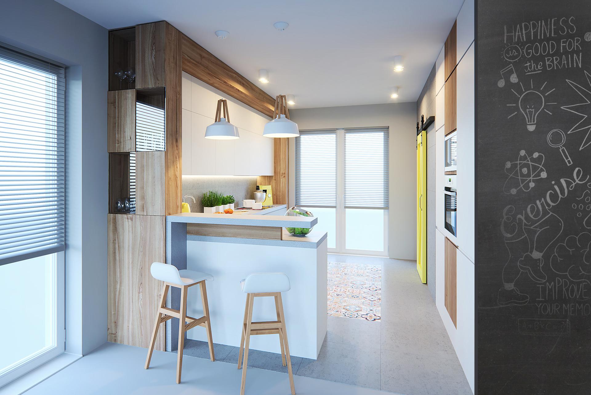 kuchnia drewno beton biel
