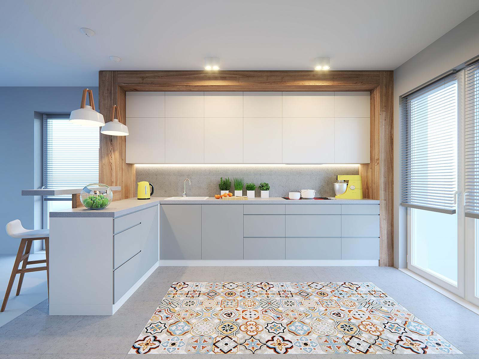 kolorowa podłoga w kuchni szarość biel