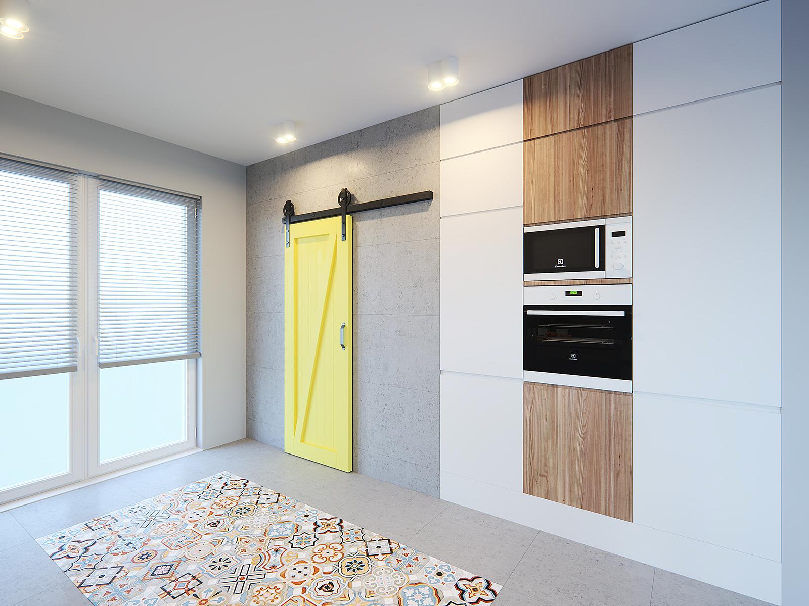 beton w kuchni białe meble