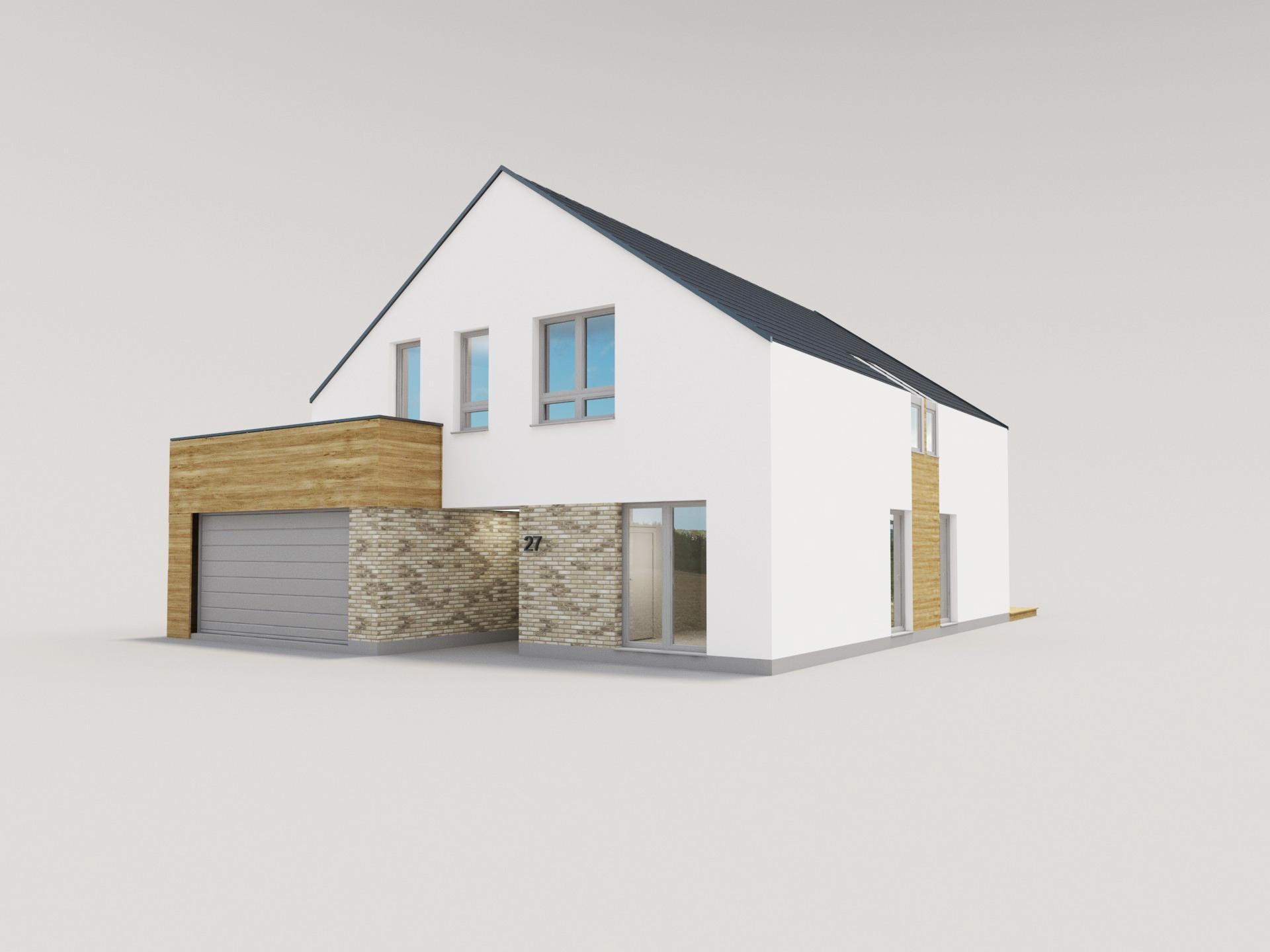 elewacja domu garaż w drewnie