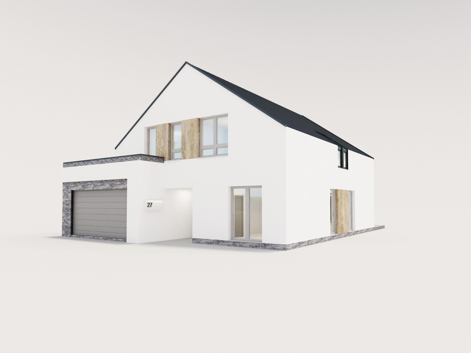 biała elewacja domu