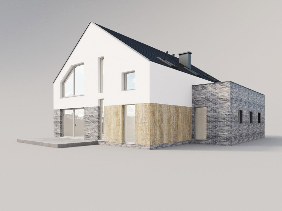 dom drewno z szarą cegłą