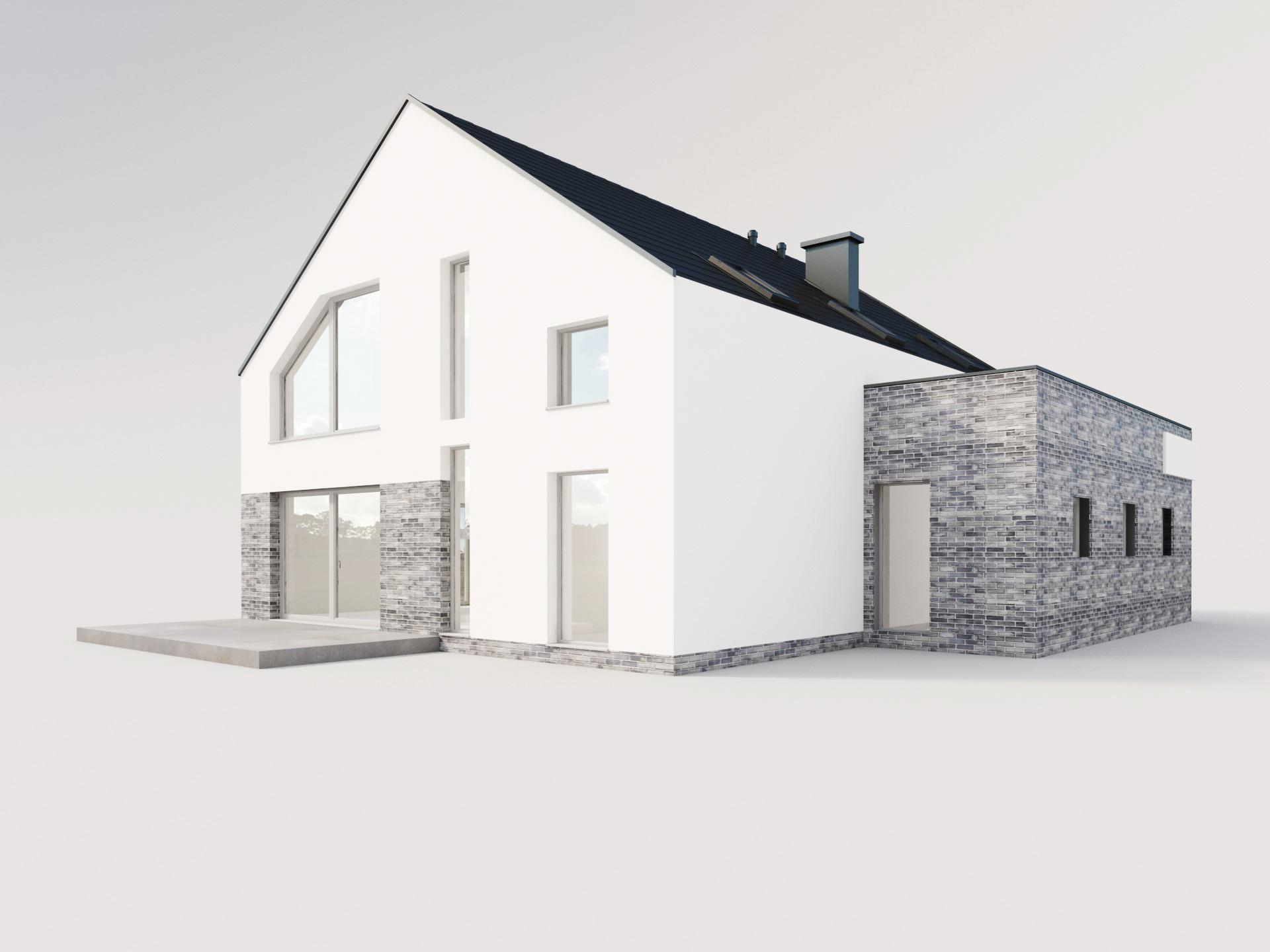biały nowoczesny dom