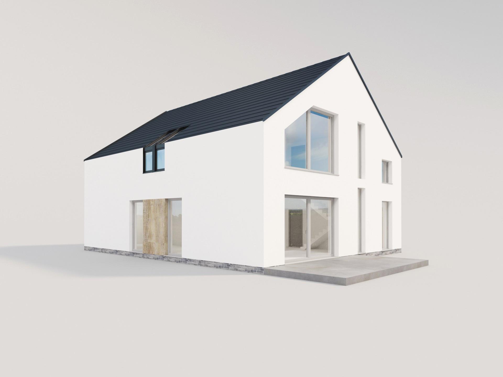 biały dom nowoczesna stodoła