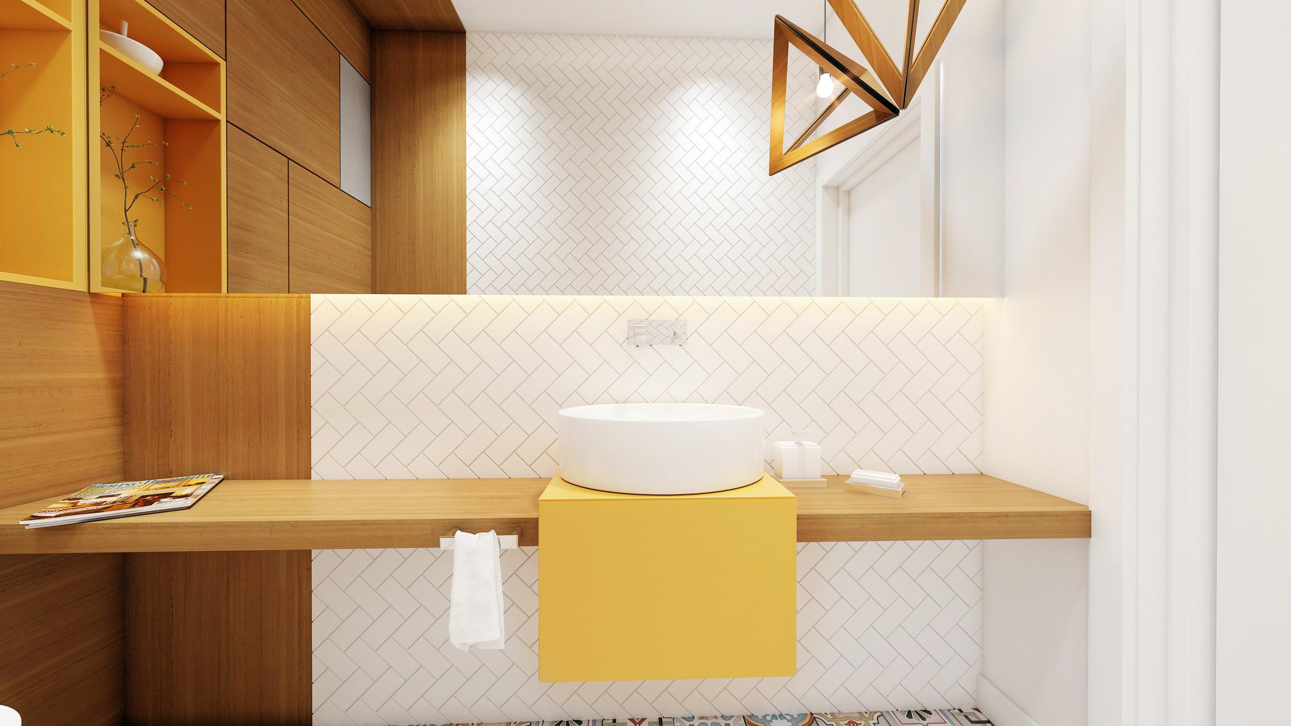 łazienka Drewno Biel żółty Wkręconapl Blog Lifestylowy