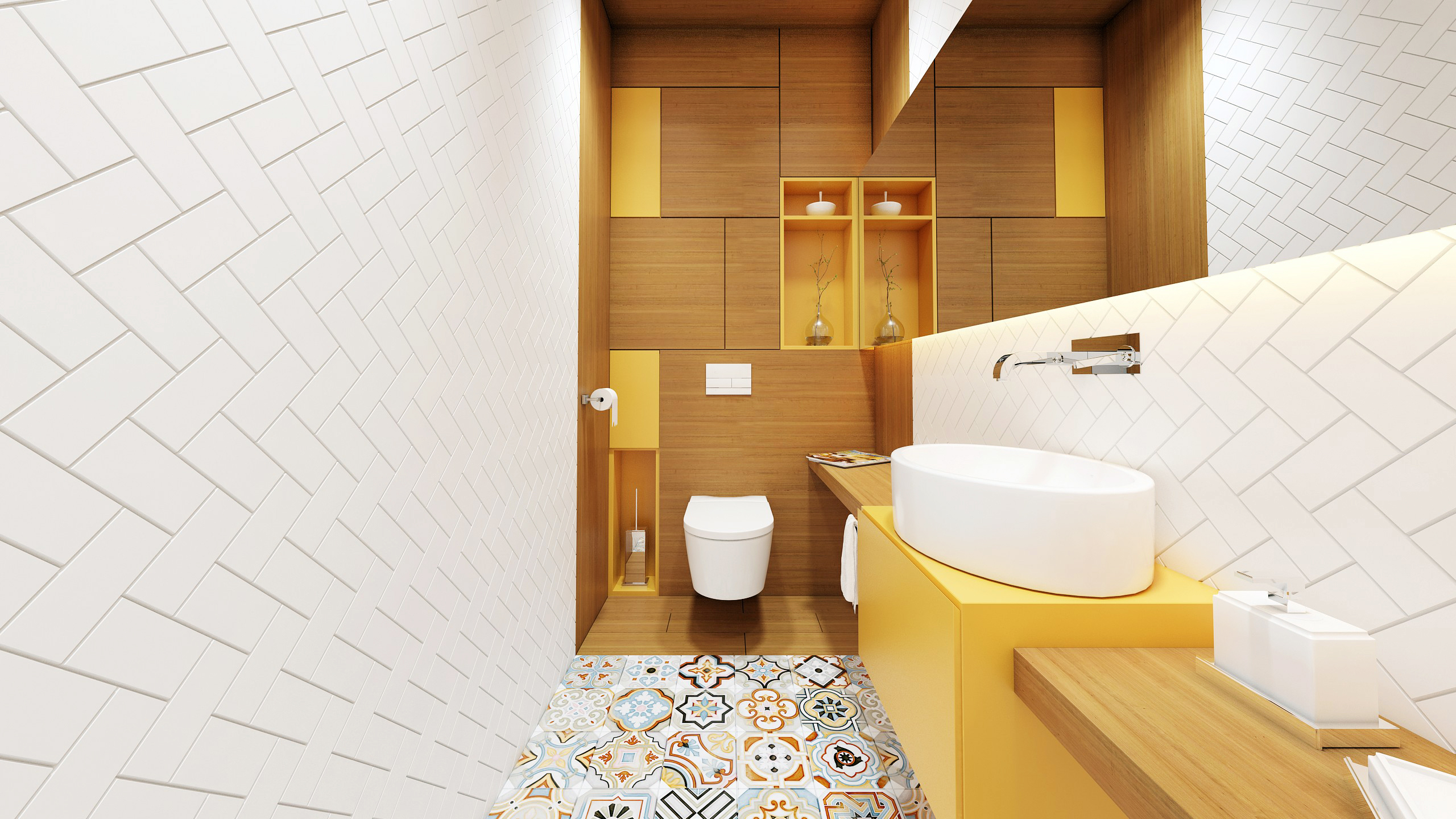 Kolor W łazience żółty Vs Szary Kolorowa Podłoga Typu
