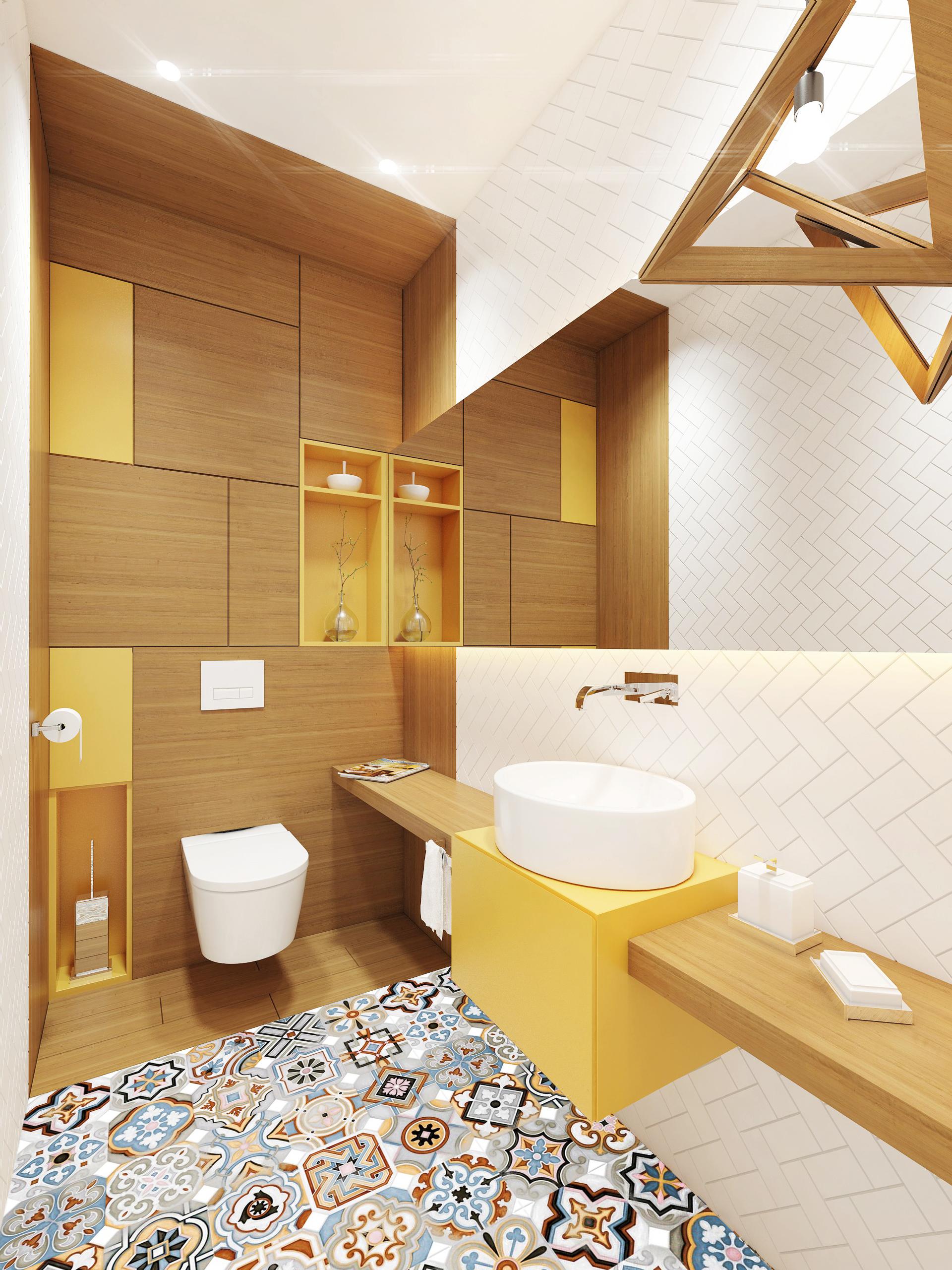 Nowoczesna żółta łazienka Z Kolorową Podłogą Wkręconapl