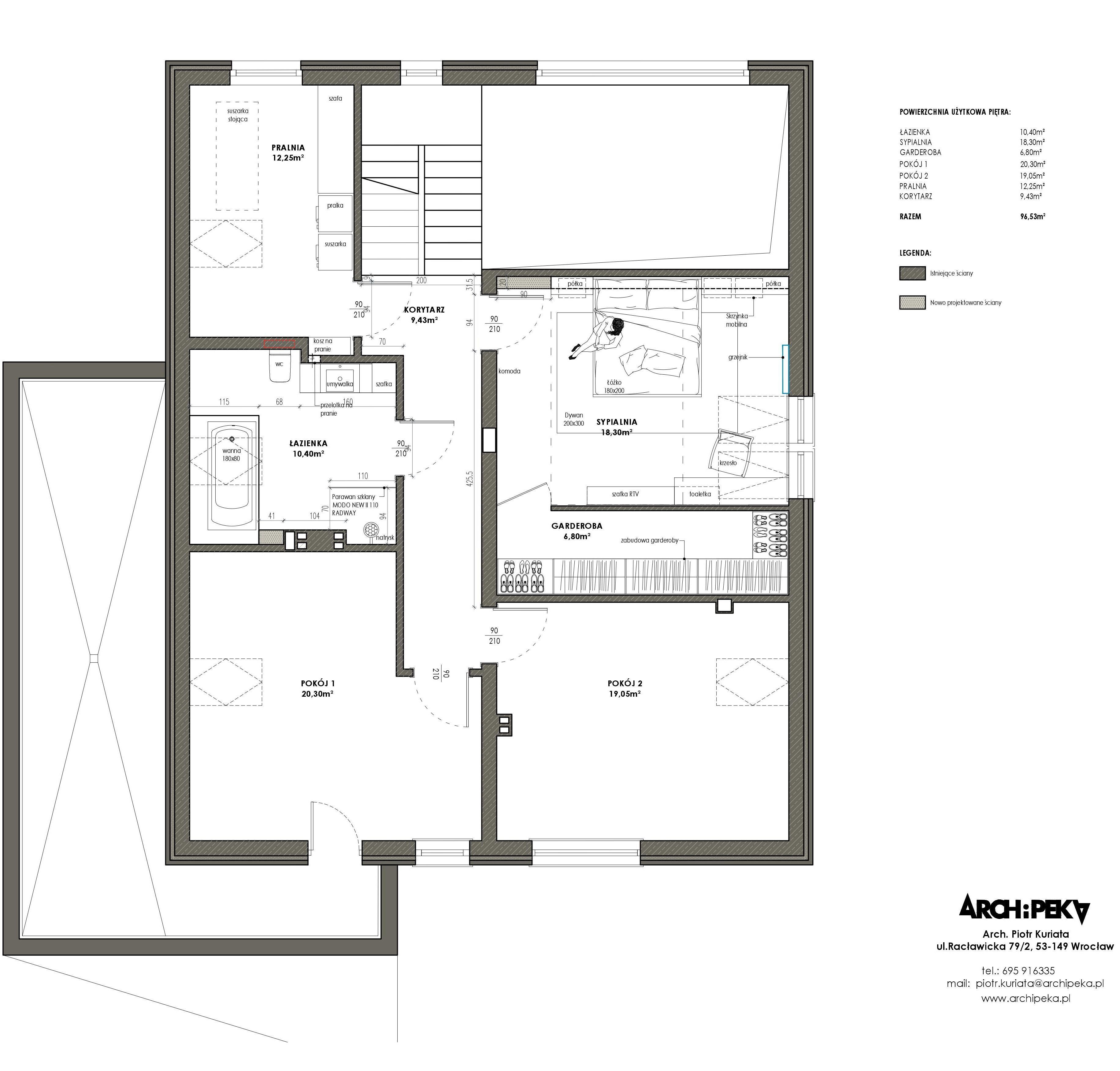 rzut piętra dom jednorodzinny z poddaszem