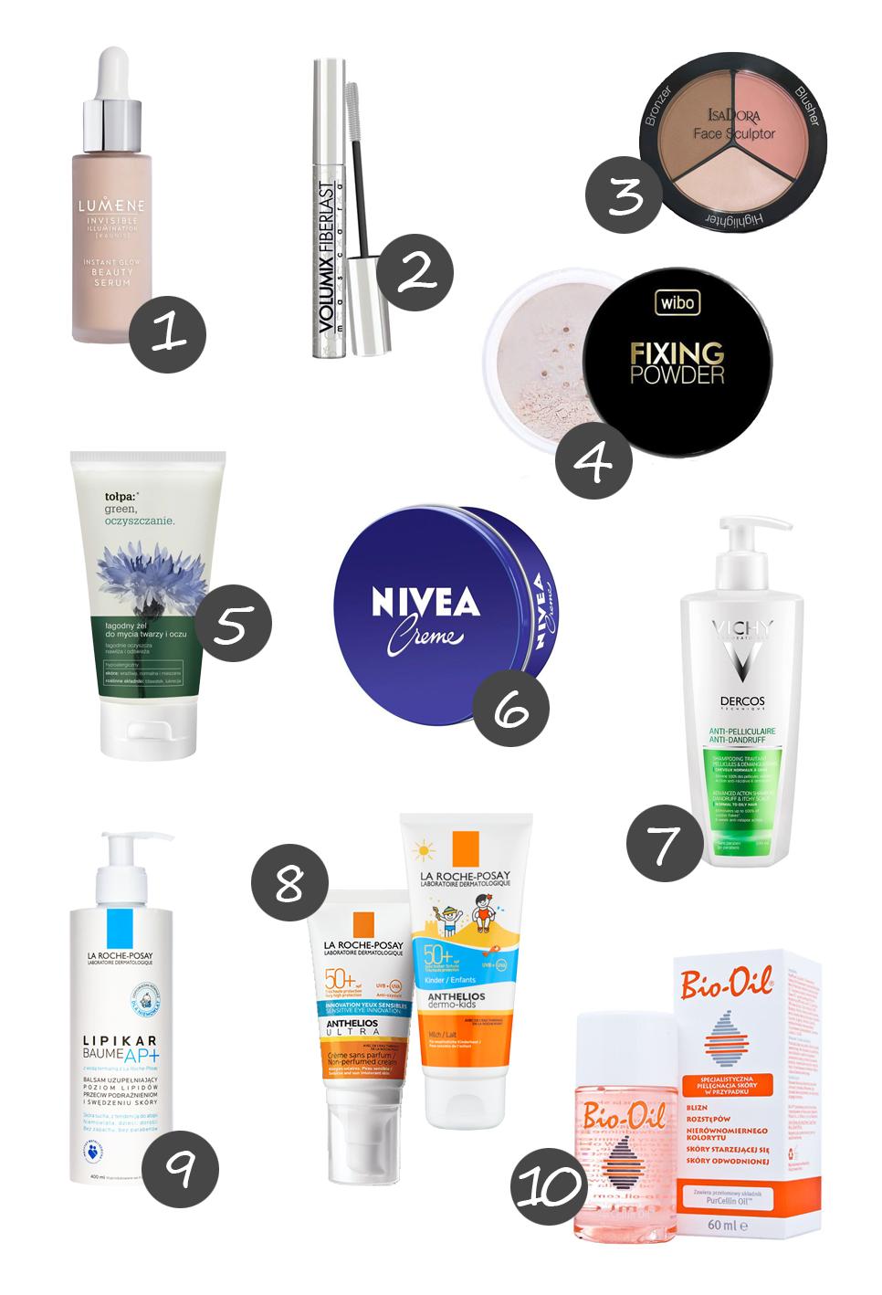 top 10 ulubionych kosmetyków