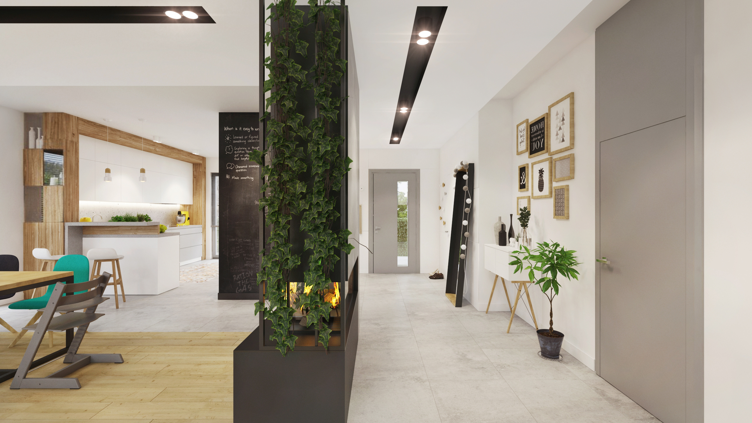 przedpokój parter open space w domu jednorodzinnym