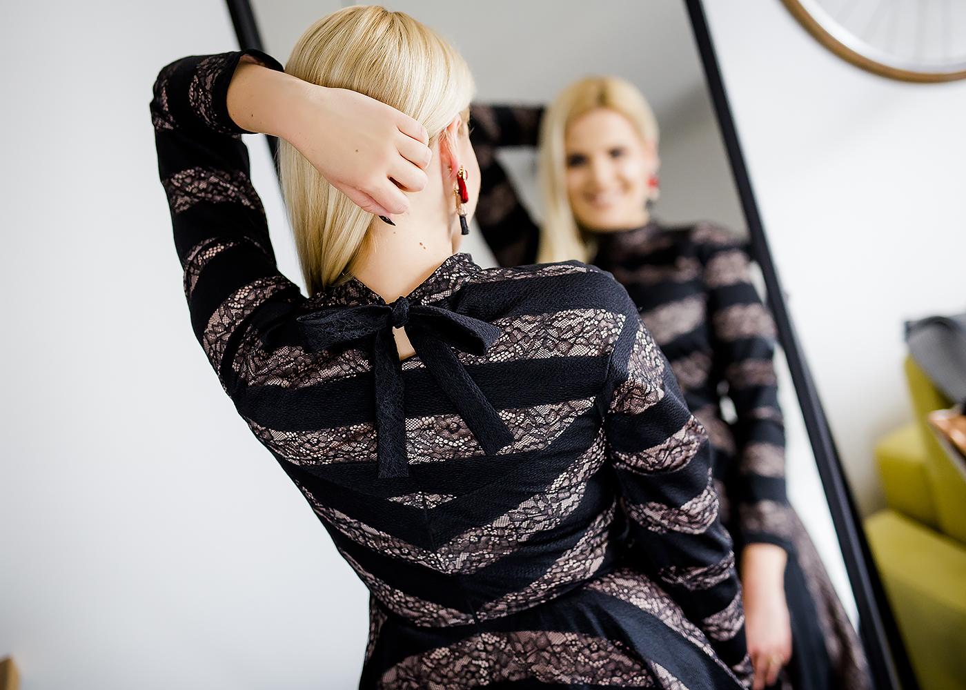 elegancka sukienka wiązanie na plecach